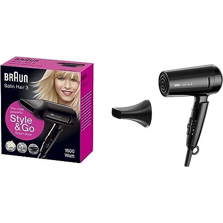 Braun Satin Hair 3 HD350 Style & Go - Secador de pelo viaje, 1600 W, color negro