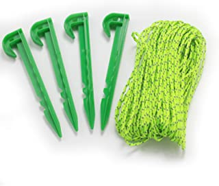 Wellmax 50 FT 3mm Reflective Nylon Cord with 4PC 6-inch Tent Stakes, Neon and Green Color for High Visibility
