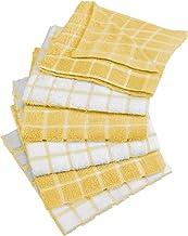 DII 100% Cotton Windowpane Dishcloth Set, 12x12, Yellow 6 Piece
