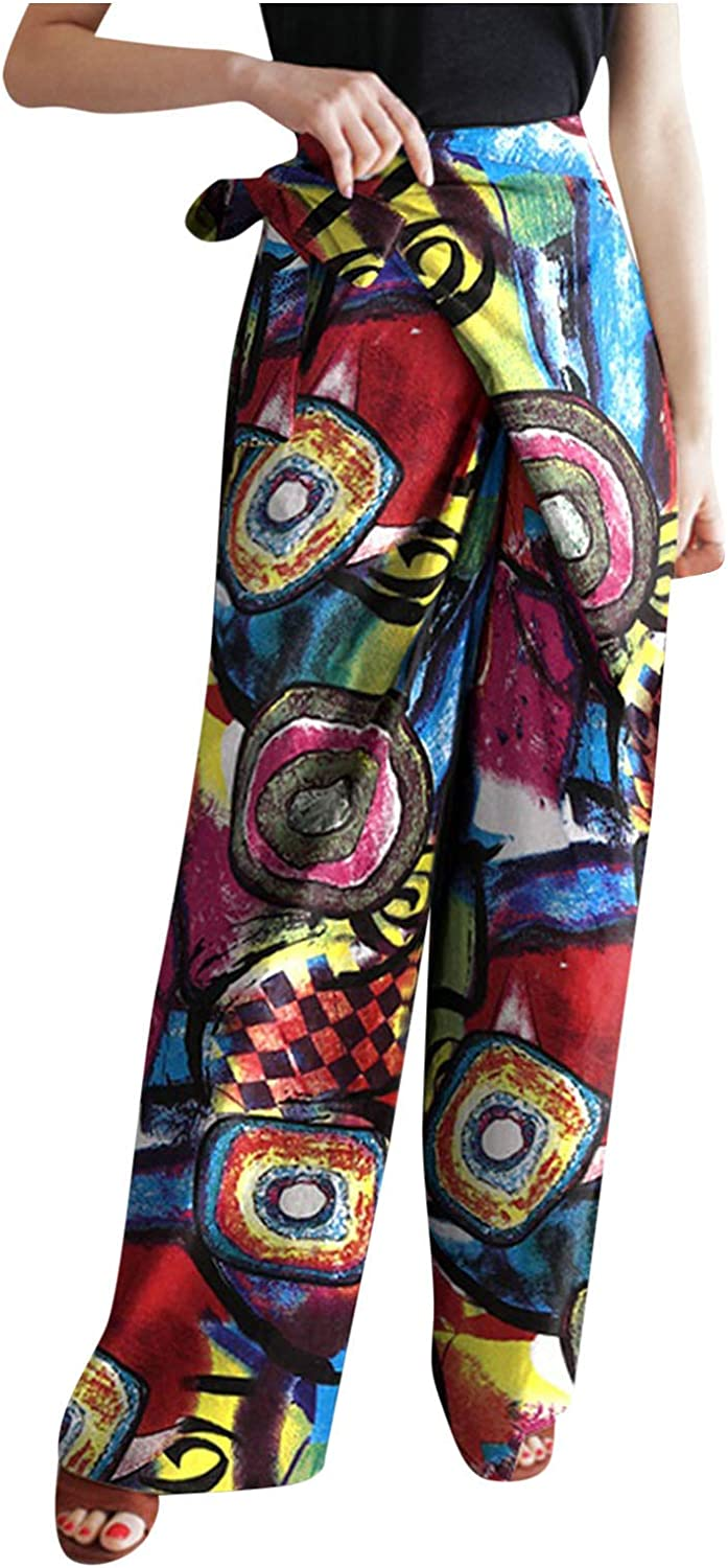 Forwelly Plus Size Pant for Women Fashion Floral Print Straigh Wide Leg Pant High Waist Trousers with Pocket