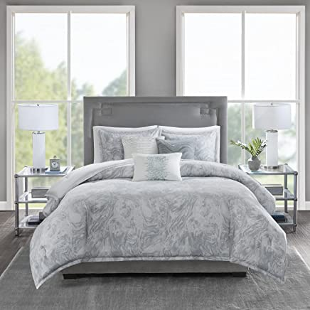Madison Park Emory Cotton Sateen Duvet Set Grey Full/Queen