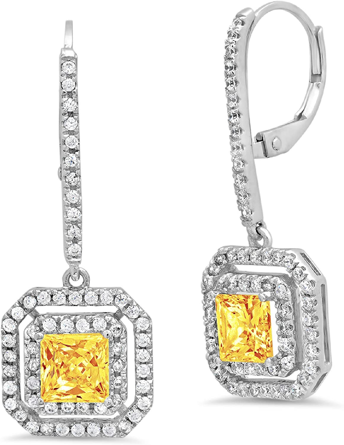 3.17CT Princess Round Cut Double Halo Solitaire Natural Yellow Citrine VVS1 gemstone Unisex Designer Lever back Drop Dangle Earrings Solid 14k White Gold