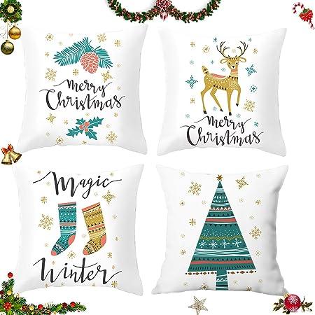 17.7 Pulgadas Style A Set de 4 Fundas Navide/ñas para Cojines /Árbol de Navidad Reno del Copo de Nieve Decoraci/ón para el Hogar Fundas de Almohada de Lino Funda de Almohada Decorativa de Navidad Casa