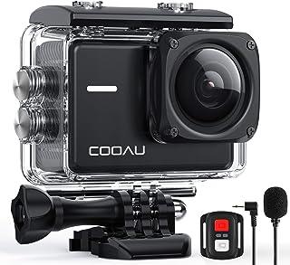 COOAU Cámara Deportiva 4K Nativo de 60fps 20MP con Wi-Fi y de 8XZoom, Micrófono Externo y Baterias de 2x1350mAh, Cámara Su...