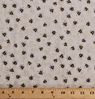 BUMBLE BEES Fabric Fat Quarter Cotton Craft Quilting YOU BUG ME