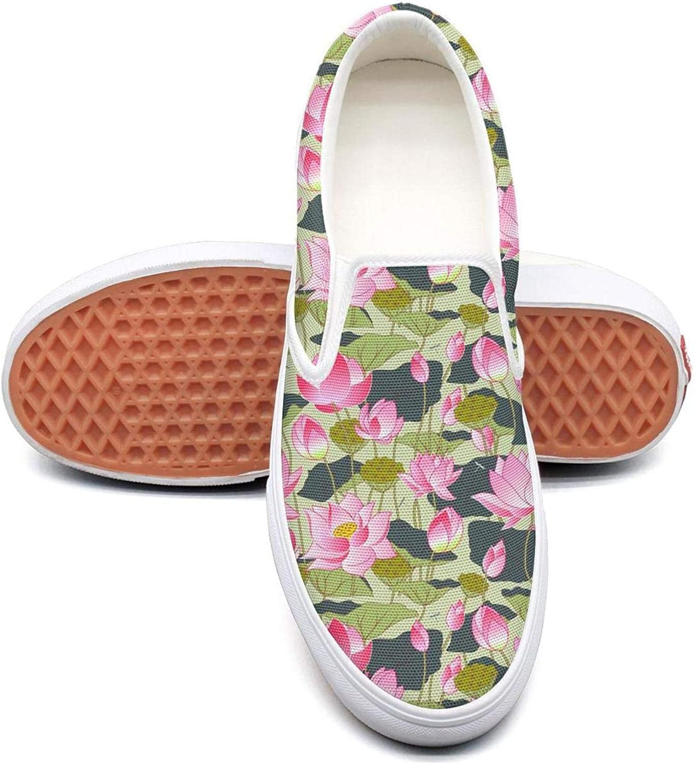 Refyds-es Blooming Lotus Flowers Womens Fashion Slip on Low Top Lightweight Canvas Sneakers