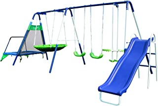 Sportspower Mountain View Metal Swing, Slide and Trampoline Set
