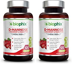 D-Mannose Plus Cranberry and Probiotics 1000 mg 120 Vcaps 2 Pack - Urinary Tract Health | Bladder Infection | Support UTI ...
