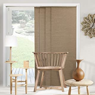Chicology Adjustable Sliding Panels, Cut to Length Vertical Blinds, Birch Truffle (Natural Woven) - Up to 80