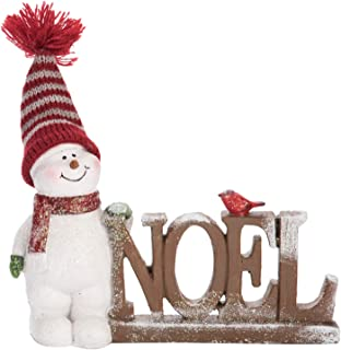 Christmas Snowman Noel or Joy Standing Signs with Bird - Tabletop Holiday Decoration (Noel)
