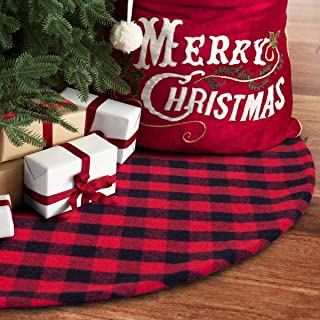 S-DEAL 48 Inches Christmas Tree Skirt Red and Black Plaid Buffalo Double Layers Checked Deco for Holiday Party Mat Xmas Ornaments