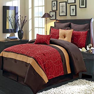 Egyptian Bedding Luxurious Queen Size 8 Piece RED Atlantis Comforter Set with Comforter, Pillow Shams, Decorative Pillows, Bed Skirt, Color Style Red Chocolate Gold