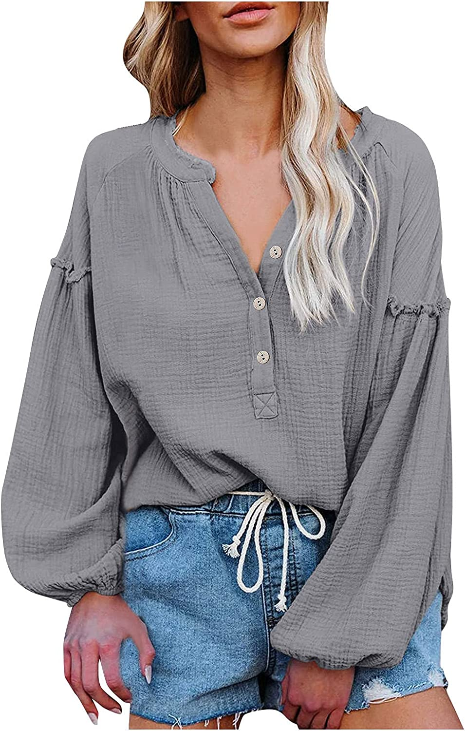 Plus Size Tops for Women Casual Autumn Sweatshirt Fashion V-Neck Button Up Pullover Tops Lantern Tee Shirt