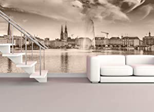 Foto Tapete Hamburgs andere Seite Premium Wand Bilder Quadrat Vlies Tapete Deko