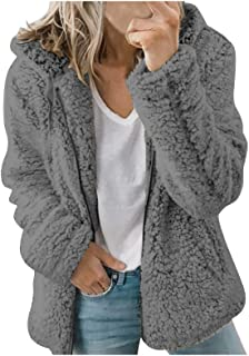 Women Solid Color Faux Fur Hooded Overcoat Plush Jacket Zip-Up Thick Warm Furry Coat with Pocket Outwear Plus Size