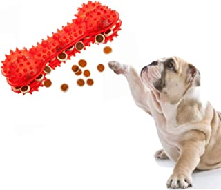 PSK Jumbo Size Natural Rubber Treat Dispenser Cum Chew Toy Bone Shape for Dog/Puppy/Cat/Kitten (Red)