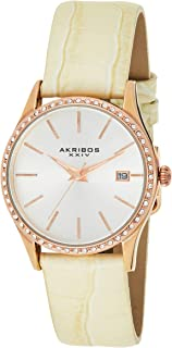 Akribos XXIV Women's Dial Leather Band Watch - AK883WTR