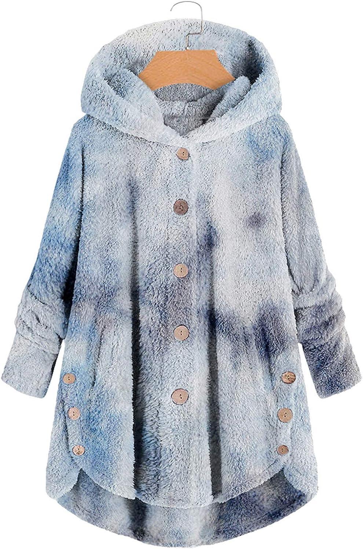 DAIFINEY Damen Mantel Jacke mit Kapuze Farbstoff binden Wintermantel Winterjacke Winter warm Coat Outwear 1-blau/Blue