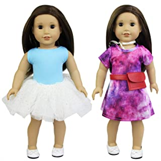 Ecore Fun Lot 5 Item 18 Inch Doll Clothes Tulle Dresses Outfits for American 18 Inch Girl Doll - Starry Themed