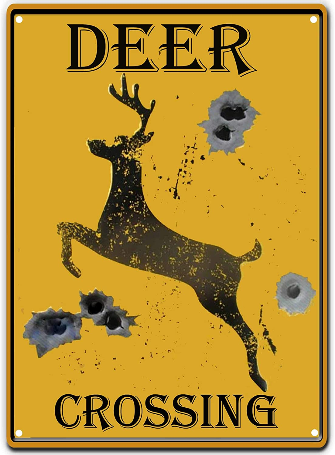 PXIYOU Deer Crossing Tin Sign Louisville-Jefferson County Mall Bullet Special Campaign Cou Retro Holes Bar Vintage