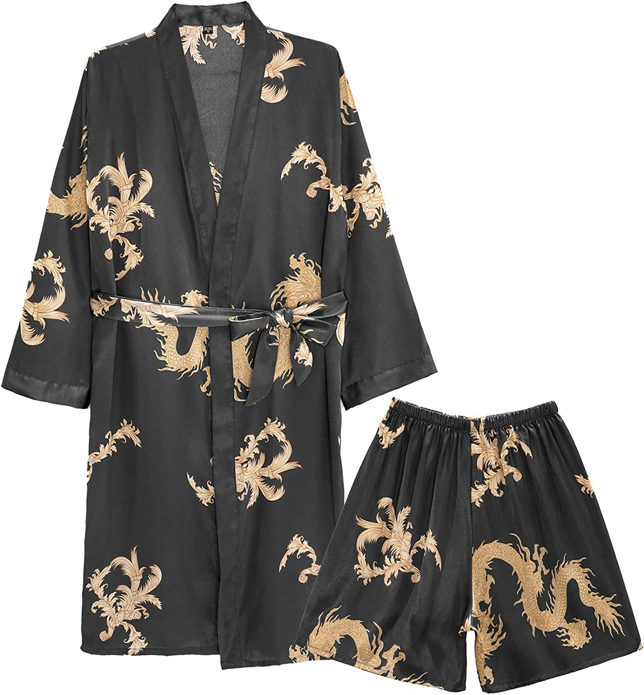 New Free Shipping Freebily Max 56% OFF Men's Satin Robe with Silk Luxurious Dragon Shorts Spa