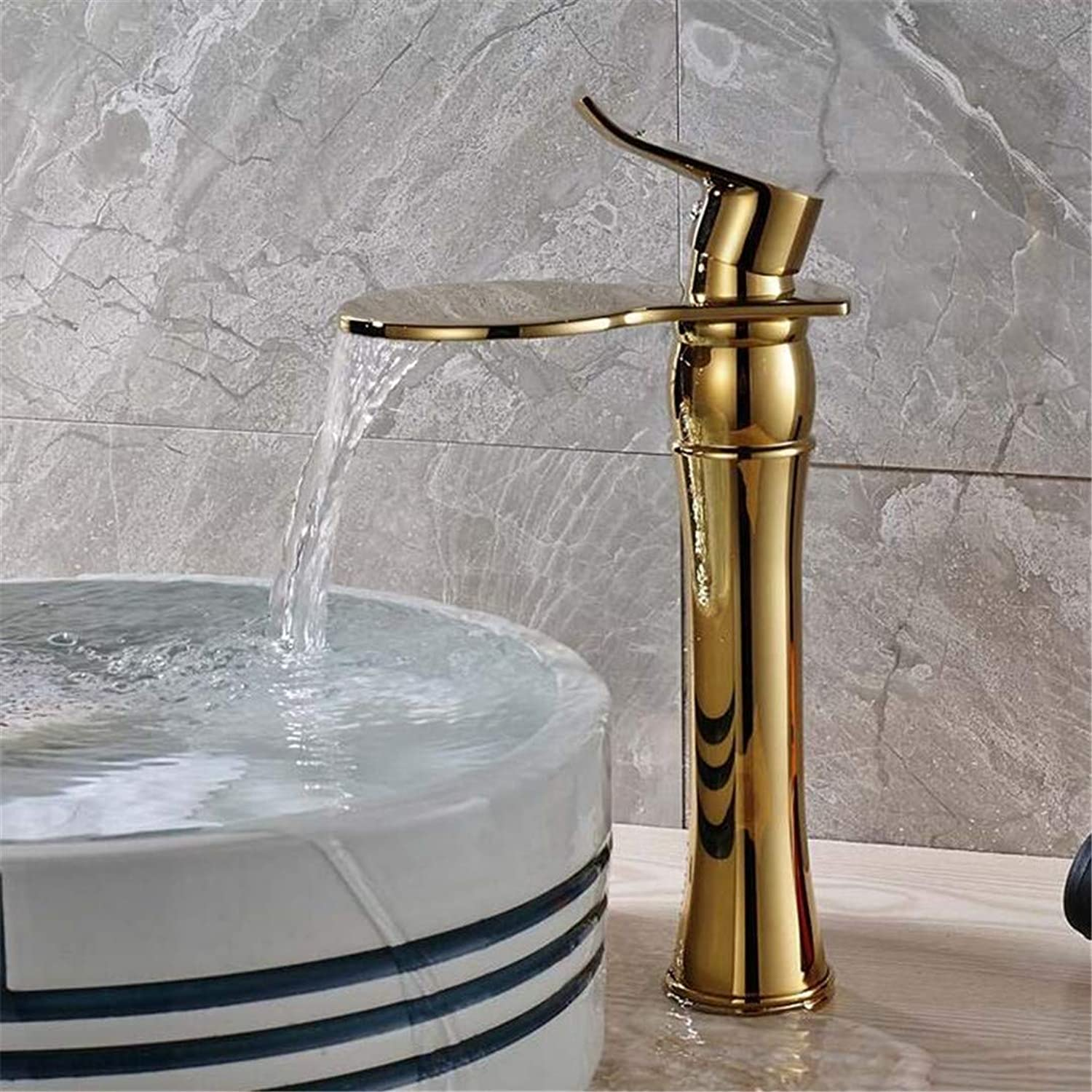 Faucet Washbasin Mixer Classic golden Countertop Basin Faucet One Handle Waterfall Round Water Spout Bathroom Vessel Sink Taps