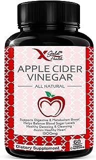 Apple Cider Vinegar Pills -1300mg per Serving - All Natural, Extra Strength, Powerful Detox & Cleanser, Improve Digestion, Immune Health & Heart Health, Helps Balance Blood Sugar - 60 Veggie Capsules