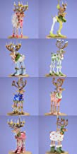 Patience Brewster Set of 8 Mini Dashaway Reindeer Ornaments Krinkles