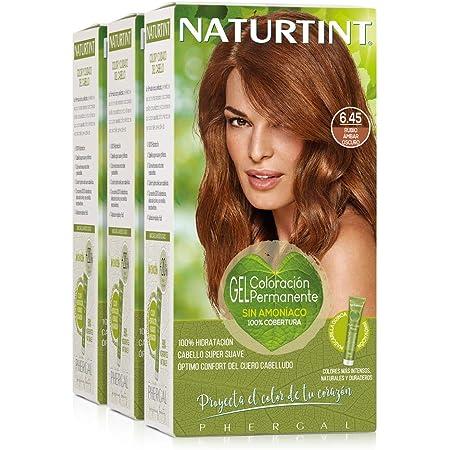 Naturtint Coloración. Sin Amoniaco. 100% Cobertura de Canas. Ingredientes Vegetales. Color Natural. 6.45 Rubio Ámbar Oscuro. Pack de 3