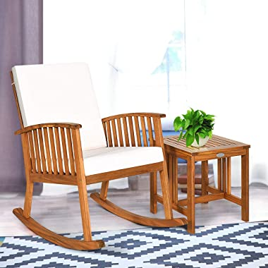 Tangkula Acacia Wood Patio Bistro Set, Outdoor Rocking Chair with Table, Porch Rocker with Thick Cushion of Detachable Cover,