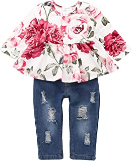 Girls Pants Set Infant Ripped Jeans Floral Long Sleeve T...