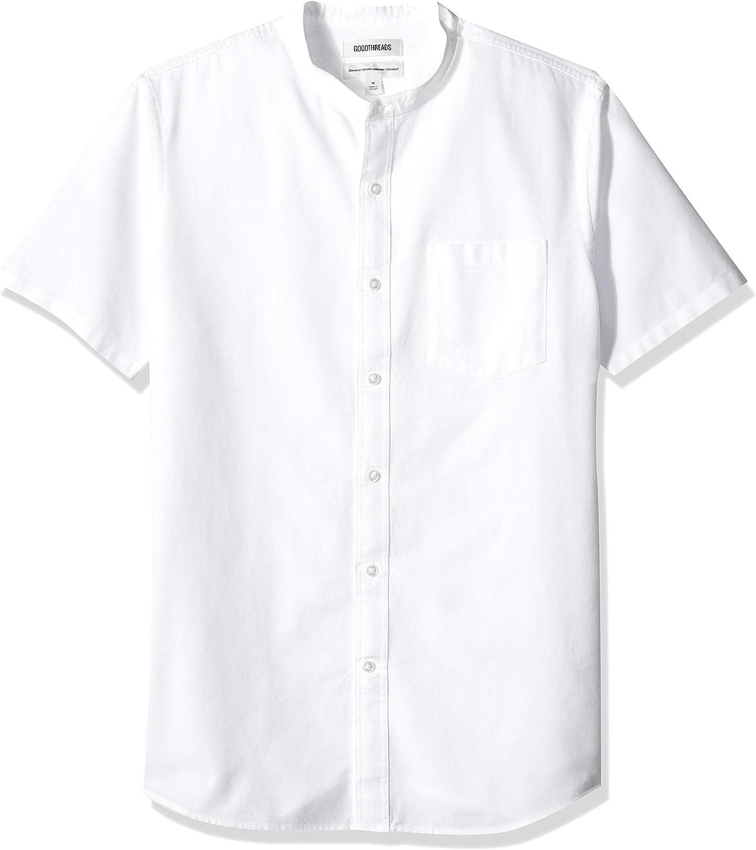 Marca Amazon - Goodthreads Standard-fit Short-sleeve Band-collar Oxford - Camisa Hombre