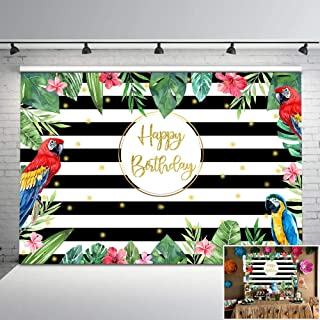 Mocsicka Tropical Luau Party Backdrop Summer Birthday Party Photography Background 7x5ft Tropical Leaves Flowers Black and White Striped Backdrops Children Birthday Party Decorations Supplies