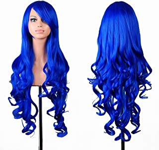 "(Dark Blue) - EmaxDesign Wigs 80cm 32"" High Quality Women's Cosplay Wig Long Full Spiral Curly Wavy Heat Resistant Fashion Glamour Hairpiece with Free Wig Cap (Colour: Dark Blue)"