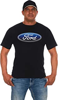 JH DESIGN GROUP Men's Ford T-Shirt Oval Logo Crew Neck Black Shirt