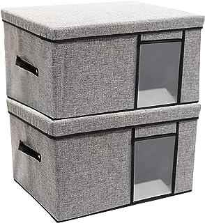 MINKUROW Boîte de Rangement Pliable, 2 Pcs Paniers de Rangement avec Couvercle en Tissu Non-tissé, Sac de Rangement Vêteme...
