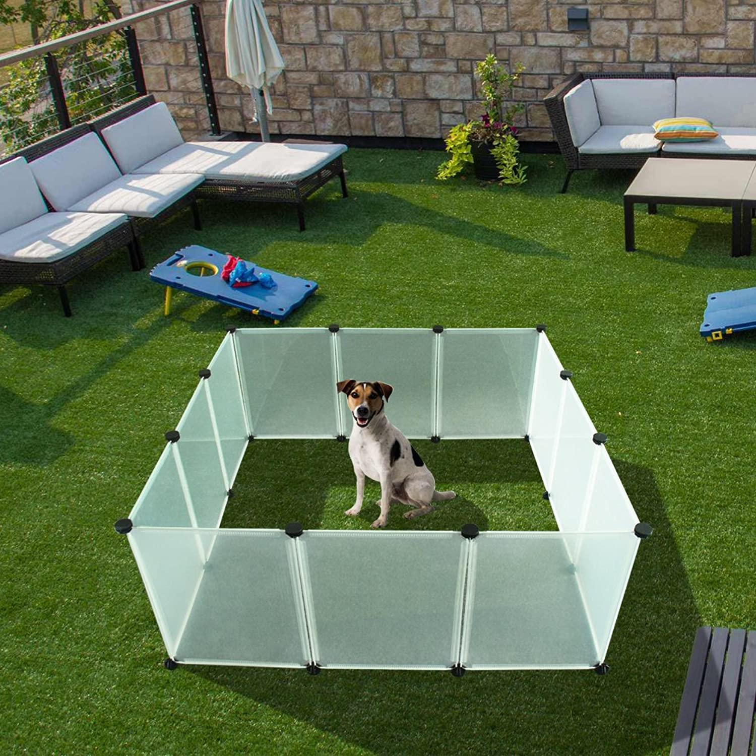 EXPAWLORER Pet Playpen Puppy  Plastic Indoor Yard Fence Durable Large Space Small Animals 12 pcs Transparent Panels