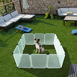 EXPAWLORER Pet Playpen for Puppy - Plastic Indoor Yard Fence Durable and Large Space for Small Animals with 12 pcs Transparent Panels