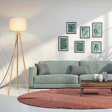 Tripod Floor Lamp, Modern Standing Lamp, Mid Century Wood Tall Lamp, Corner Floor Lamp for Living Room, Bedroom, Study Room a