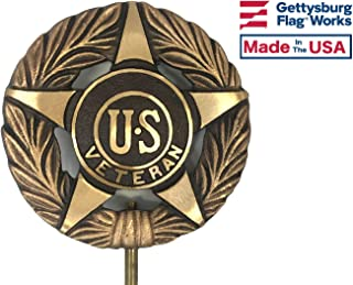 Universal Veteran Bronze Grave Marker - Cemetery Memorial Flag Holder, Veteran Plaque, Made in USA