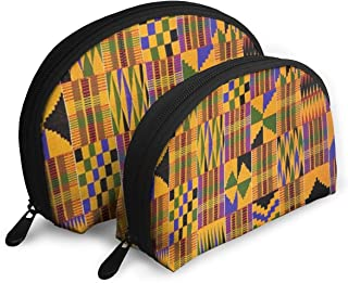 Ghana Kente Cloth Pouch Zipper Toiletry Organizer Travel Makeup Clutch Bag Portable Bags Clutch Pouch Storage Bags