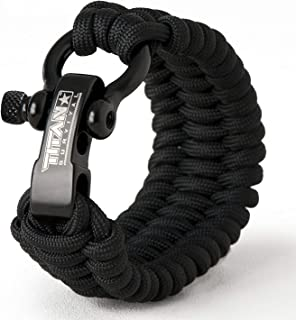 Titan Paracord Survival Bracelet | Made with Authentic Patented SurvivorCord (550 Paracord, Fishing line, Snare Wire, and Waxed Jute for Fires). Disassemble for Emergencies. Free eBooks Included.