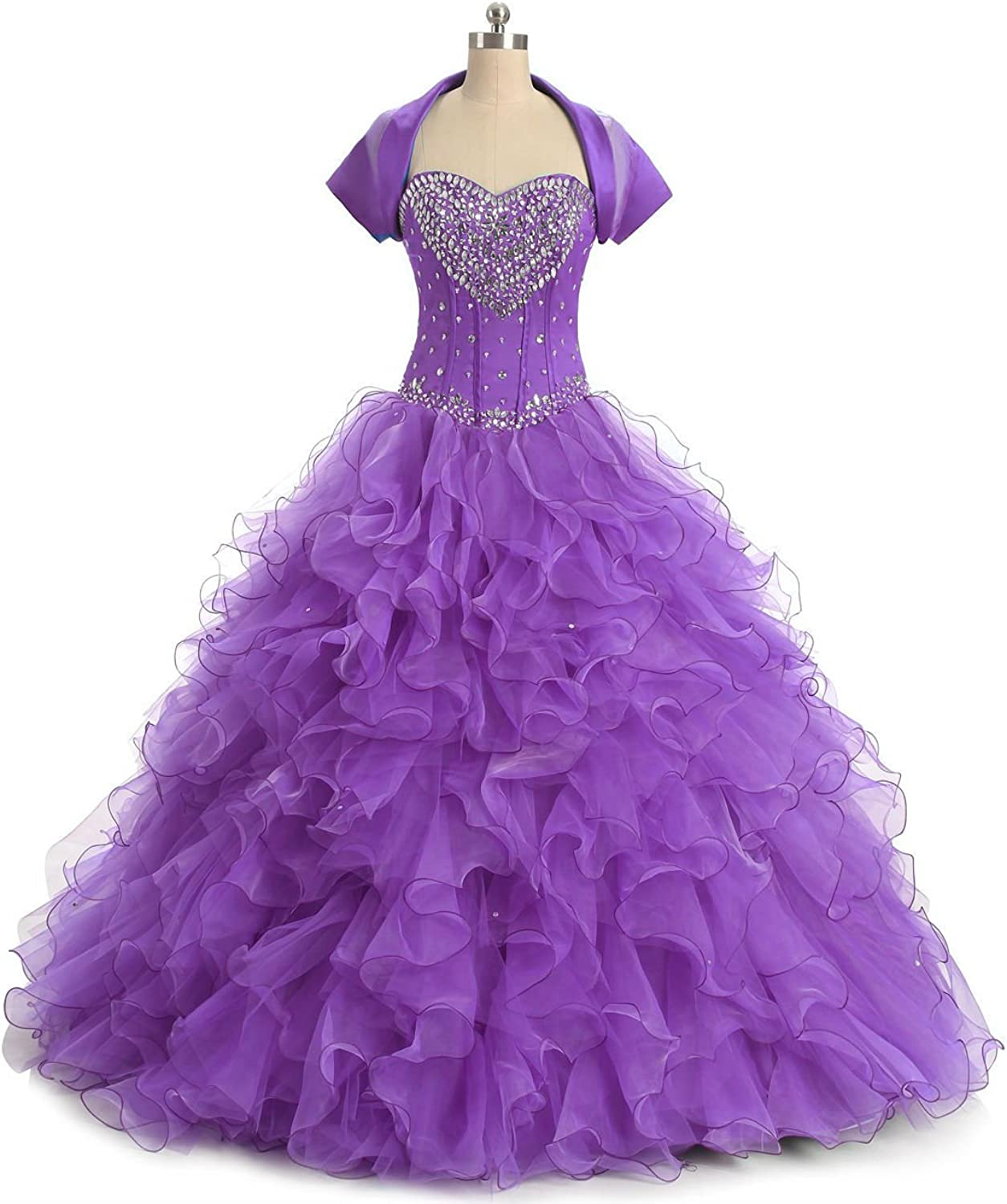 QY Bride Princess Organza Quinceanera Prom Dress with Short Sleeve Jacket