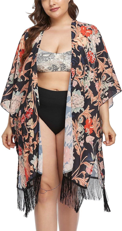 Women's Summer Long Flowy Kimono Cardigans Boho Chiffon Floral Print Beach Cover Up Tops