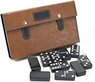Jumbo Size Domino Set Double 6 - Classic 28 Pieces Double 6 in Luxury Case for Family & Friends Entertainment