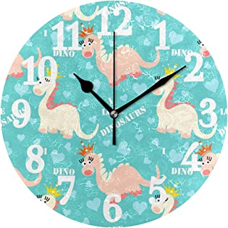 WIHVE Round Wall Clock Adorable Cartoon Dinosaurs with Crown Hearts Home Art Decor Non-Ticking Numeral Clock for Home Office