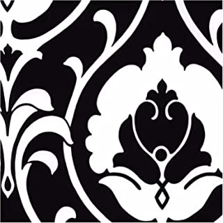 1 Piece Heirloom Damask Inspired Design Wallpapers, Featuring Classic Floral Themed Home Decor, Contemporary Architectural Stylish Artsy Canvas Kitchen Bedroom Living Room Wall Panels, Black, White