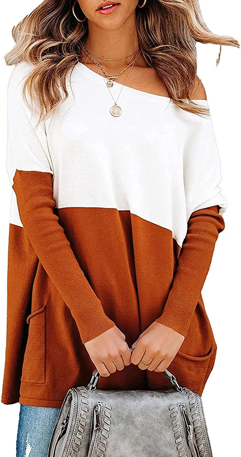 Womens Tops Ladies Stitching Color Block Tunic Casual Knitted Long Sleeve Sweater Pockets Cold Shoulder Pullover