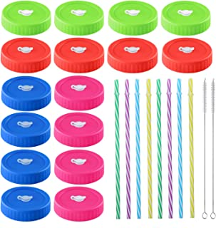16pcs Pack Plastic Regular Mouth Mason Jar Lids with Straw Hole, Including 8pcs Plastic Straws and 2pcs Cleaning Brush, Co...