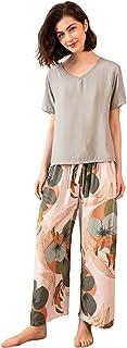 MUFRIYIT-AE Women's Short Sleeve Long Pant Round Neck Floral Print Self Tie Summer Nightwear Sleepwear Pajama Set